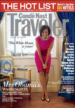 Michelle Obama shares her favorite places to visit in the Washington area in the May issue of Conde Nast Traveler magazine.