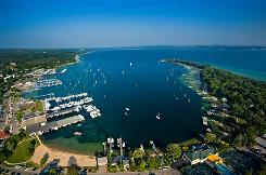 Down by the bay: Little Traverse Bay is popular in the summer  water activities and golfing are big  but there are three big area ski resorts.