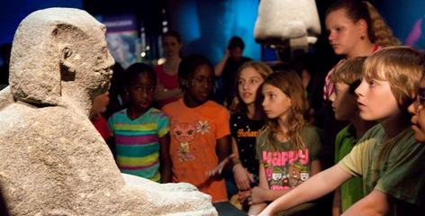 Students come face-to-face with the Sphinx of Ptolemy XII, the father of Cleopatra.
