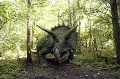 A triceratops greets visitors at Prehistoric Forest in Port Clinton, Ohio. The roadside attraction will be shutting down at the end of the year.