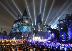 Magical: The stars of the Harry Potter movies were among the hundreds in attendance at Hogwarts Castle for Wednesday's fireworks show to kick off the theme park's grand opening celebration. 