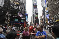 Pedestrian plazas opened more than a year ago in the middle of Times and Herald Squares in midtown Manhattan.