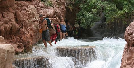 Need a break fromthe boat? Groups rafting down the Grand Canyon can also try some side hikes, such as Havasu Canyon. But don't break for too long: The 280-mile trip on the Colorado River can take 13 days.