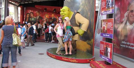 Look ogre here: Visitors line up at Madame Tussauds wax museum, where Shrek is a popular photo subject.