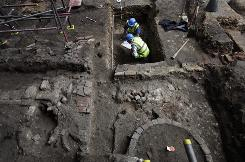 Archaeologists explore the site of London's first theater, where William Shakespeare himself once trod the boards.