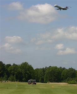Golfers get free airshows at the Crosswinds Golf Club near Georgia's Savannah/Hilton Head International Airport.