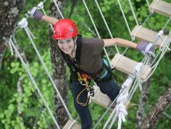 Don't look down: Navitat Canopy Adventures near Asheville, N.C., features sky bridges and custom platforms built into trees.