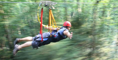 "Wheeeeee! Visitors who take Hocking Hills Canopy Tours in southern Ohio can ride the new Super Zip course, which puts you in a ""super hero flying"" position and lets you reach speeds of up to 50mph."