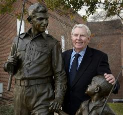 At the Andy Griffith Museum: The real Andy Griffith and a statue of Andy and Opie.