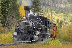 In Colorado: The Durango & Silverton Narrow Gauge Railroad passes through spectacular settings between the two towns.