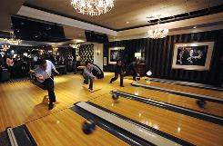 The new bowling alley at the Foxwoods Resort Casino features marble stairs, chandeliers and high-definition TVs.