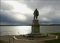A statue of Captain John Smith overlooks the James River at Historic Jamestowne in Virginia.