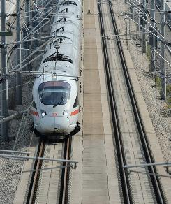 A high-speed train passes a station in Kinding, Germany. Currently there is only one true high-speed line in the U.S., and critics contend it is not nearly as consistently fast as comparable trains in Europe or Asia.