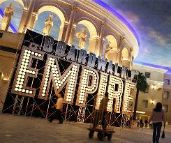 "A large ""Boardwalk Empire"" sign stands in the lobby of Caesars Atlantic City Hotel and Casino. Free publicity from a smash hit TV show is a godsend for the city, which is in the fourth straight year of a revenue decline."