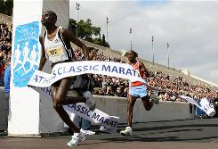 Kenya's Nicholas Paul Lekuraa, left, finishes first as compatriot Julius Seurei Kiprotivh follows at the Athens Classic Marathon in 2008.