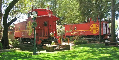 In Nice, Calif.: The Featherbed Railroad Bed & Breakfast Resort boasts real caboose cars, each brightly painted, decorated according to a theme and converted into guest rooms.