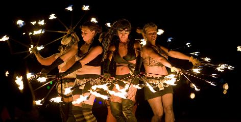 In Nevada: Fire dancers perform at the freewheeling Burning Man festival.