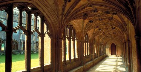 The halls of Hogwarts: Lacock Abbey in Wiltshire, England, has provided several sets, including the cloisters and classrooms.