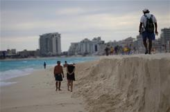 Cancun suffers from severe beach erosion problems caused by recent hurricanes and storms.