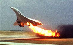 113 killed: Fire trails Air France Concorde Flight 4590 as it takes off July 25, 2000, from Charles de Gaulle Airport. A court on Monday found Continental Airlines and one of its mechanics guilty of manslaughter.