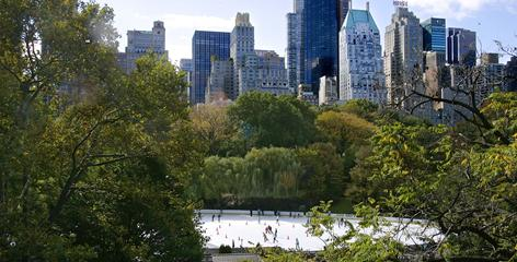 The Trump Wollman Ice Rink in New York's Central Park is one of the USA's largest outdoor skating rinks.