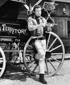 "In this March 17, 1968 publicity photo, John Smith, star of ""Laramie,"" is shown at the Ocala theme park."