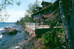 The Rock Harbor Lodge overlooks Lake Superior at Isle Royale National Park in Michigan. The park is one of the most remote in the USA, accessible only by boat or seaplane.