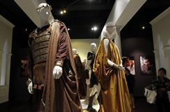 Costumes, such as these from the film 'Clash of the Titans,' are seen on display at the Fashion Institute of Design and Merchandising Museum and Gallery in Los Angeles.