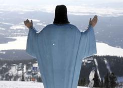 The statue of Jesus Christ at Whitefish Mountain Resort overlooks Whitefish Lake and the Flathead Valley in Whitefish, Mont. The Knights of Columbus in Kalispell  installed the statue in 1955 and have maintained it since.