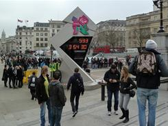An electronic clock counting down the days to the start of the 2012 London Olympics is installed in London's Trafalgar Square.