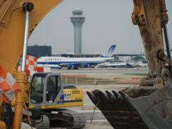 Construction equipment at Chicago's O'Hare Airport.