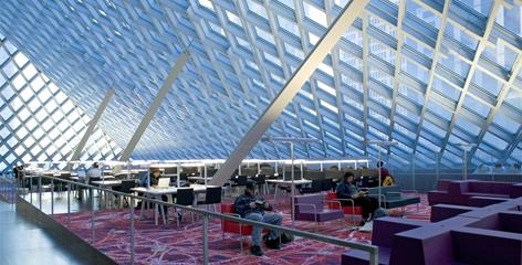 The Rem Koolhaas-designed Seattle Central Library building has become a city icon and has helped spur revitalization of downtown.