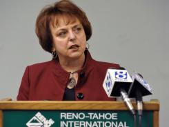 Krys T. Bart of  the Reno-Tahoe Airport  Authority talks to reporters about  air control safety on Wednesday.