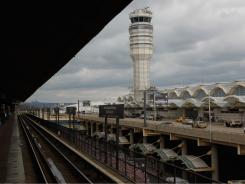 The control tower at Ronald Reagan Washington National Airport.