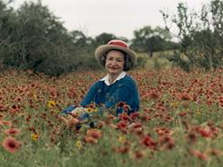 Lady Bird Johnson, shown here in 1990, put roadsides and parks in the forefront of public attention through her campaign for the Highway Beautification Act of 1965.