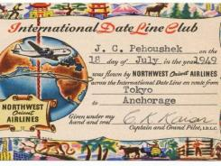 A certificate passengers got when they crossed the international dateline in 1949 on Northwest. It's part of the NWA collection at the Delta Air Transport Heritage Museum in Atlanta.