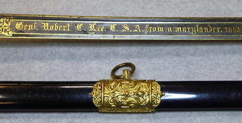 "The inscription on Confederate Gen. Robert E. Lee's sword reads ""Gen. Robert E. Lee. U.S.A. from a marylander, 1863."" The sword will be displayed in Richmond until the satellite exhibition space in Appomattox is completed."