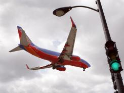 A Southwest Boeing 737 on approach to Chicago's Midway Airport.