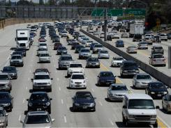 Traffic along I-405 in Los Angeles.