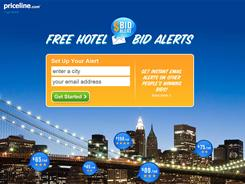 After you've created a personalized e-mail alert, Priceline messages you when someone gets the deal you've selected. Users can set up multiple alerts for the same city.