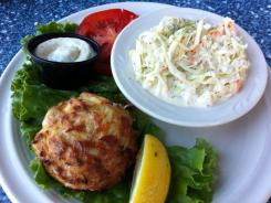 The lump crab cakes at The Narrows on Kent Island, near the Chesapeake Bay Bridge, have virtually no filler and have won many awards.