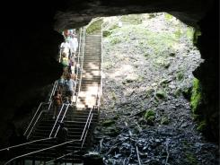 Tour participants enter Mammoth Cave on Aug. 3 in Mammoth Cave National Park, Ky.