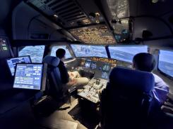 A U.S. Airways Airbus A320 simulator at the airline's training center in Charlotte, N.C., in 2009. Flight simulators are a significant part of the reason aviation is as safe as it is, Captain Cox says.
