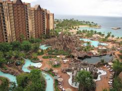 About an hour west of Waikiki, Aulani is Disney's first hotel and timeshare development not connected to a theme park. The 8,200-square-foot Waikolohe Pool includes a volcano-like outcropping with two slides.