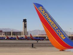 Southwest planes at McCarran International in Las Vegas.