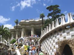 Visitors stroll around Park Guell in Barcelona.