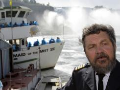 Maid of the Mist's Senior Capt. Malcolm Bunting talks to reporters about his retirement in Niagara Falls, Ontario.