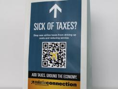 "The air-sickness bags are part of an advertising campaign against the taxes primarily aimed at the congressional ""super-committee"" that is looking for $1.2 trillion in deficit reduction by Thanksgiving."