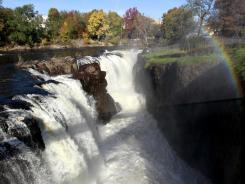 Water from the Passiac River rushes down the Great Falls, in Paterson, N.J. The landmark became the nation's newest national historic park Monday.