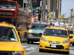 Traffic along New York's 7th Avenue.